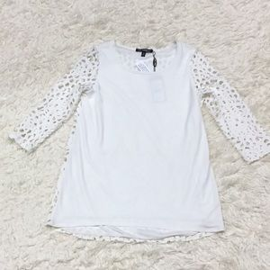 Picadilly WHITE cutout Lace sleeve blouse